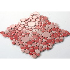 Wholesale Porcelain Pebble Mosaic Tiles Design Red Ceramic Tile Flooring Kitchen Backsplash FS1702
