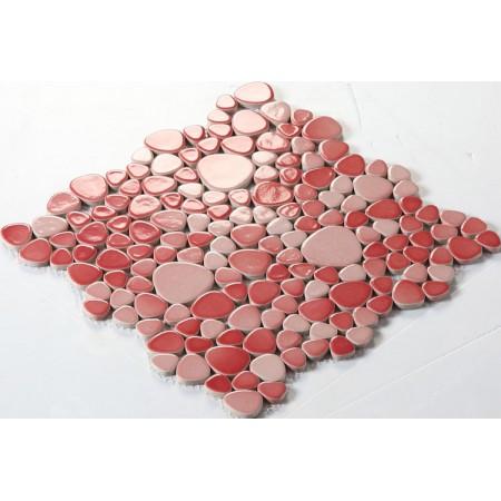 Wholesale Porcelain Pebble Mosaic Tiles Design Red Ceramic Tile Flooring Kitchen Backsplash FS1702