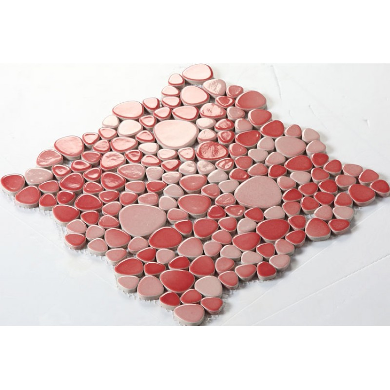 Wholesale Porcelain Pebble Mosaic Tiles Design Red Ceramic Tile