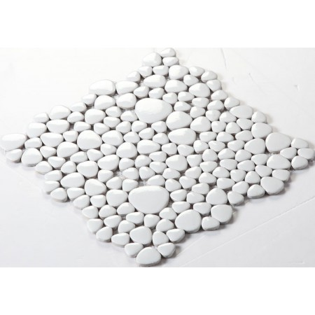 Wholesale Porcelain Pebble Mosaic Tiles Design White Ceramic Tile Flooring Kitchen Backsplash FS1713