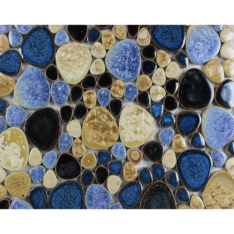 Glazed Porcelain Pebble Mosaic Tiles Designs Ceramic Tile Walls