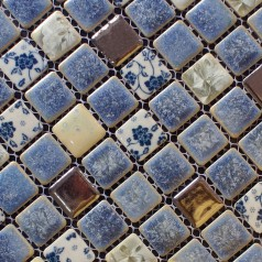 Porcelain Square Silver and Blue Mosaic Design Snowflake Style Kitchen Backsplash Wall Tiles ADT112