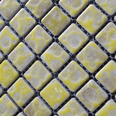 Porcelain Square Yellow Mosaic Tiles Design Snowflake Style Kitchen Backsplash Wall Tiles ADT37
