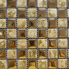 Porcelain Square Gold Style Mosaic Design Snowflake Style Kitchen Backsplash Wall Tiles ADT44