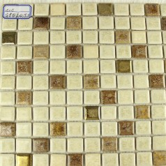 Glazed Porcelain Square Mosaic Tiles Design Beige Ceramic Tile Walls Kitchen Backsplash 10032