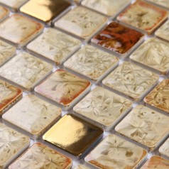 Glazed Porcelain Square Mosaic Tiles Designs Gold Plated Ceramic Wall Tile Kitchen Backsplash A-998