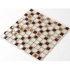 Crackle Glass Tile with Porcelain Base Bathroom Wall Tiles Brown Ice Cracked Crystal Glass Mosaic Tile Backsplash A004
