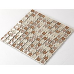 Crackle Glass Tile with Porcelain Base Bathroom Wall Tiles Brown Ice Cracked Crystal Glass Mosaic Tile Backsplash A005