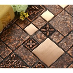 Wholesale Porcelain tiles Square Mosaic Tile Designs Stainless Steel Metal Tile Tlooring Kitchen Backsplash BFCM08