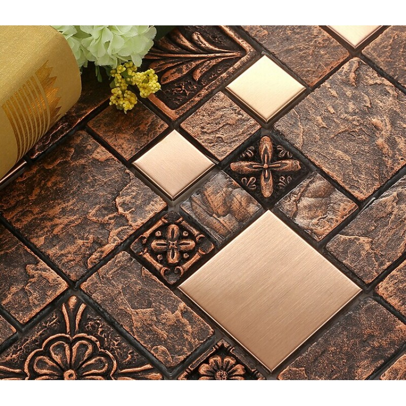 Wholesale Porcelain tiles Square Mosaic Tile Design Metal ...