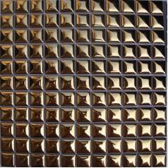 Gold Porcelain Mosaic Bathroom Wall Glossy Ceramic Tile Mirrors Bread-Shaped Backsplash Tiles GBC005