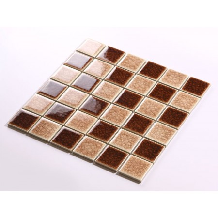 Crackle Glass Tile with Porcelain Base Brown Swimming Pool Tiles Flooring Kitchen Backsplash Wall Mosaic DBL002
