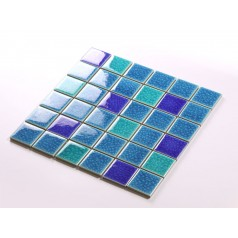 Crackle Glass Tile with Porcelain Base Swimming Pool Tiles Flooring Kitchen Backsplash Wall Mosaic DBL005