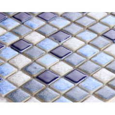 Blue Porcelain Square Mosaic Tiles Design Glazed Ceramic Tile Wall Kitchen Backsplash DS-552
