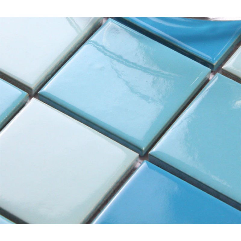 Glazed porcelain square mosaic tiles wall designs blue for Swimming pool ceramic tile