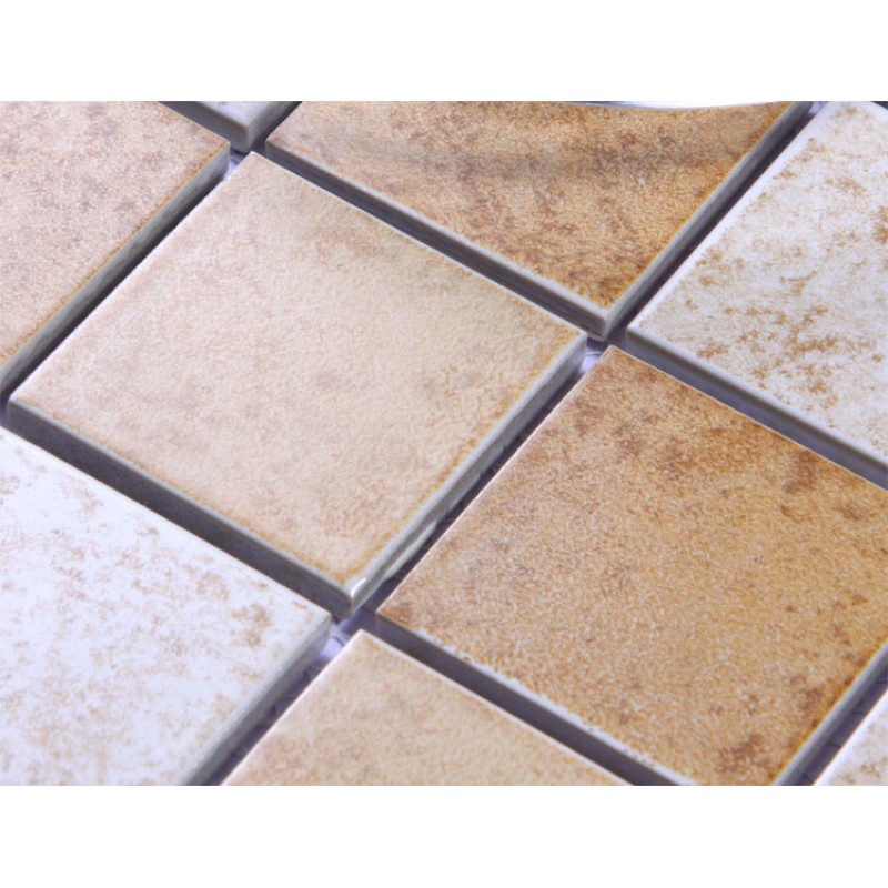 Beige Porcelain Square Mosaic Tiles Wall Designs Ceramic Tile Flooring Kitche