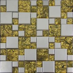 Gold Glass and Porcelain Square Mosaic Tile Designs Plated Ceramic Tiles Wall Kitchen Backsplash GB09