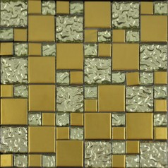 Gold Porcelain and Glass Mosaic Square Tile Designs Plated Ceramic Tiles Wall Kitchen Backsplash GPA015