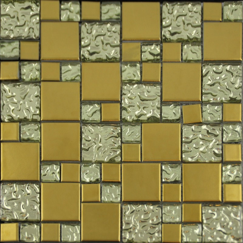 Gold porcelain and glass mosaic square tile designs plated Mosaic kitchen wall tiles ideas