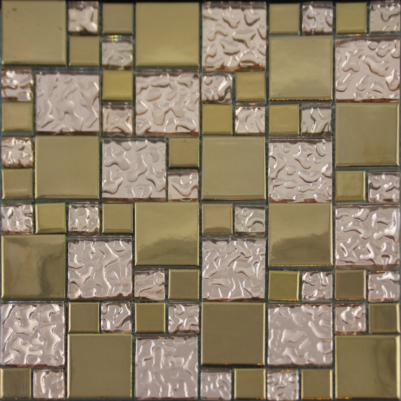 Gold Porcelain Tile Designs Bathroom Wall Copper Glass Mosaic Plated