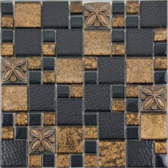 Black Porcelain Mosaic Tile Designs Gold Glass Tiles Bathroom Wall Plated Ceramic Kitchen Backsplash GSCQ01