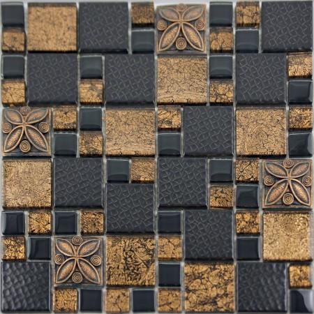Black Porcelain Mosaic Tile Designs Gold Glass Tiles Bathroom Wall Plated Ceramic Kitchen Backsplash GSCQ01