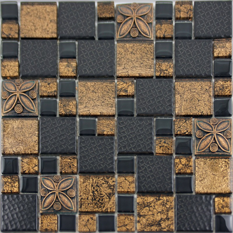 Black porcelain mosaic tile designs gold glass tiles Mosaic tile wall designs