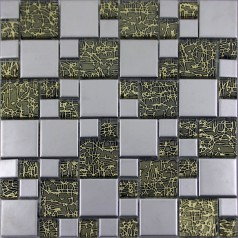 Silver Porcelain Square Mosaic Tile Designs Crystal Glass Tiles Wall Bathroom Plated Ceramic Kitchen Backsplash PK220