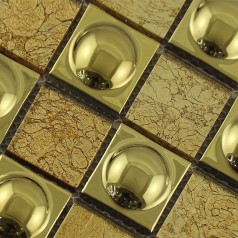 Gold Glass and Porcelain Square Mosaic Tile Design Ceramic Plated flooring Kitchen Backsplash SPA480609
