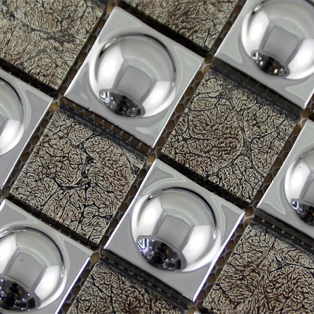 Silver Porcelain and Glass Mosaic Tiles Designs Plated Ceramic Wall Kitchen Backsplash SPB480609