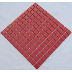 Glazed Porcelain Square Mosaic Tiles Design Red Ceramic Tile Swimming Pool Flooring Kitchen Backsplash TC-007