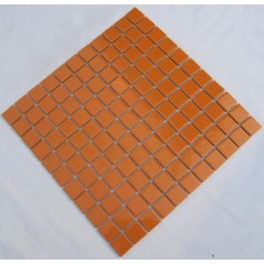 Glazed Porcelain Square Mosaic Tiles Design Orange Ceramic Tile Swimming Pool Flooring Kitchen Backsplash TC-009