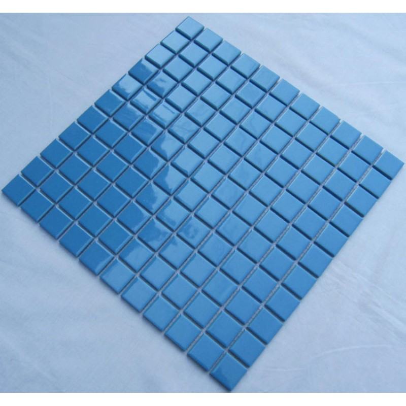 Glazed Porcelain Square Mosaic Tiles Design Blue Ceramic Tile Swimming Pool Flooring Kitchen Backsplash Tc 012