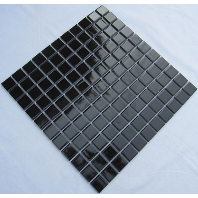 Glazed porcelain square mosaic tiles design black ceramic for Swimming pool ceramic tile