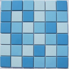 Glazed Porcelain Blue Mosaic Tiles Wall 48mm Ceramic Tile Brick Kitchen Backsplash TC 009