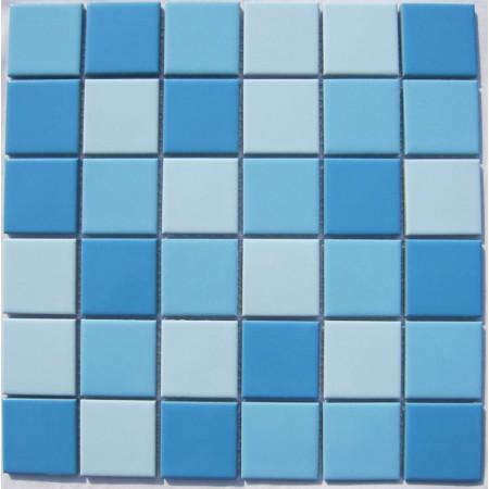 Glazed Porcelain Blue Mosaic Tiles Wall 48mm Ceramic Tile Brick Kitchen Backsplash TC 009