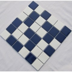 Glazed Porcelain Blue and Cream Mosaic Tiles Wall 48mm Ceramic Tile Brick Kitchen Backsplash TC48-004