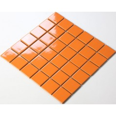 Glazed Porcelain Orange Mosaic Tiles Wall 48mm Ceramic Tile Brick Kitchen Backsplash TC48008