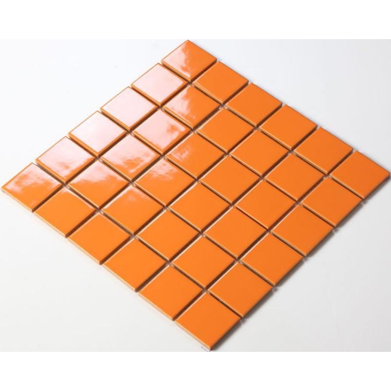 Glazed Porcelain Orange Mosaic Tiles Wall 48mm Ceramic