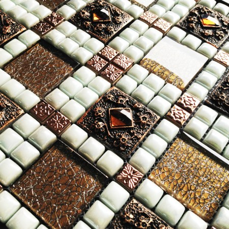 Cream Porcelain Square Mosaic Tile Design Stainless Steel Tile Flooring Crystal Glass Tile Kitchen Backsplash WY-JH166