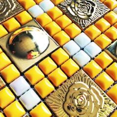 Yellow Porcelain Square Mosaic Tile Design Stainless Steel Tiles Glazed Cermaic Tile Flooring Kitchen Backsplash WY-JH172
