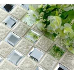 Porcelain Glass Tile Wall Backsplash Crystal Mirror Tiles Pyramid Patterns Designs Ceramic Mosaic Tiles 1801