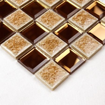 Porcelain Glass Tile Wall Backsplash Crystal Mirror Tiles Pyramid Pattern Designs Kitchen Mosaic 1802