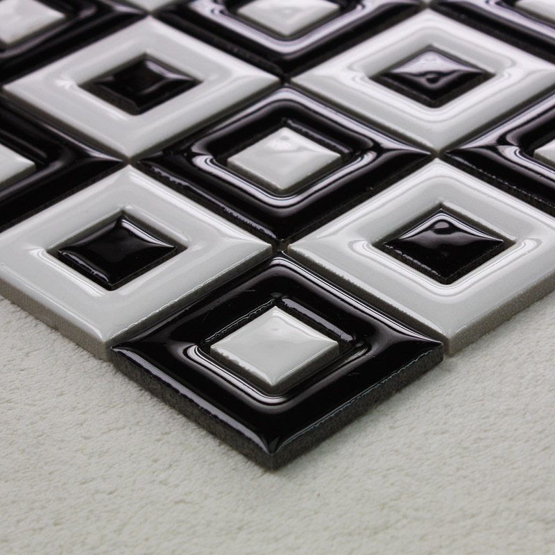 Black and white ceramic mosaic bathroom floor tiles window porcelain