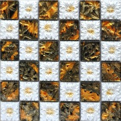 Porcelain Glass Tile Wall Backsplash Fireplace Crystal Art Flower Pattern Design Mosaic Tiles