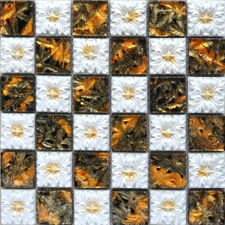 Porcelain Glass Tile Wall Backsplash Fireplace Crystal Art Flower Pattern Design Mosaic Tiles