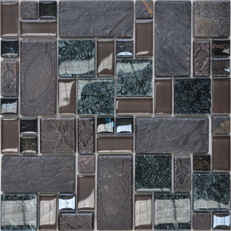 Porcelain Glass Tile Wall Backsplash Grey Crystal Art Pattern Design Mosaic Tiles Washroom Wall