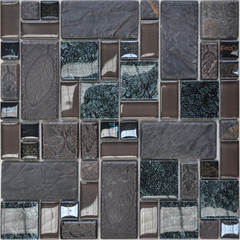 Wholesale porcelain glass tile wall backsplash grey for Large glass wall tiles