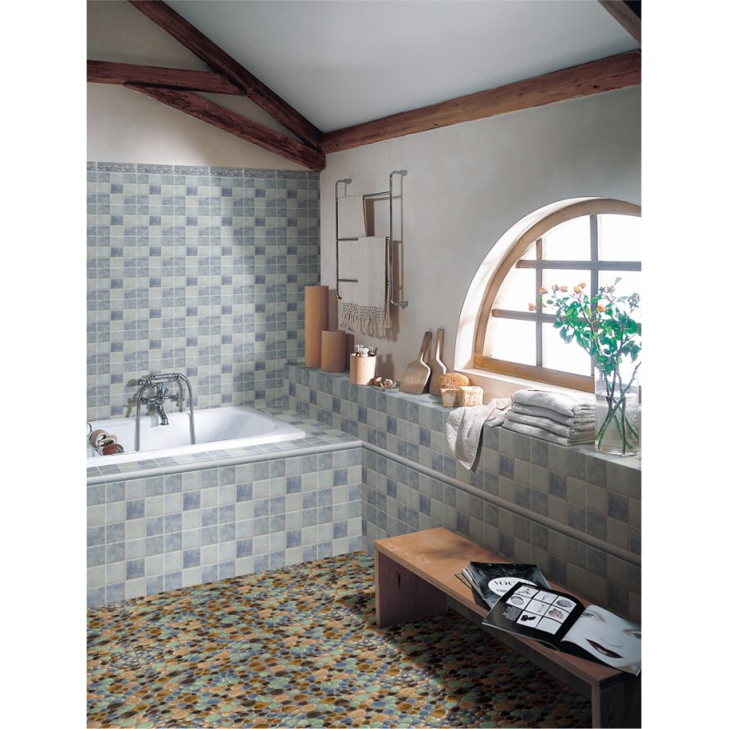 shower java tiles tan floor and pin pebble sliced tile