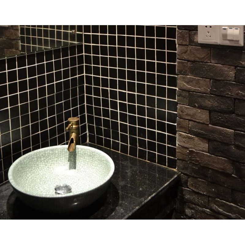 Wholesale Glazed Porcelain Brick Tile Mosaic Black Square Surface ...
